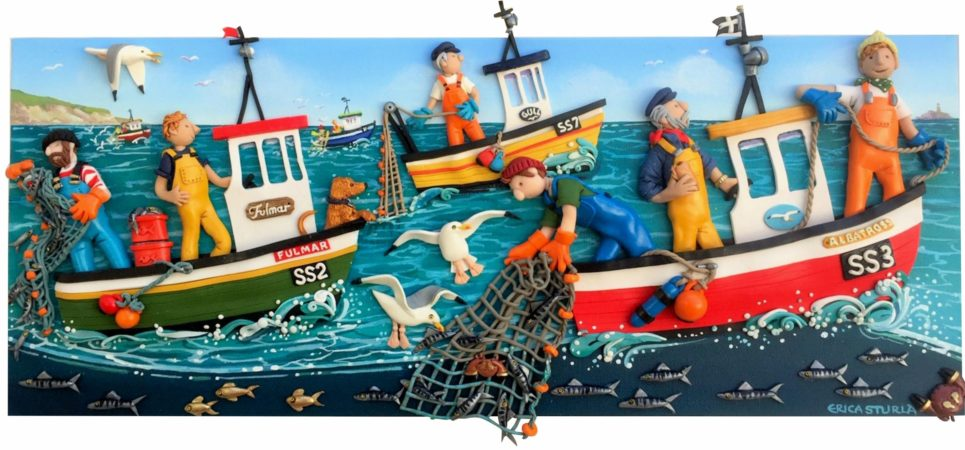 Clay figures of six fisherman on three fishing boats at sea