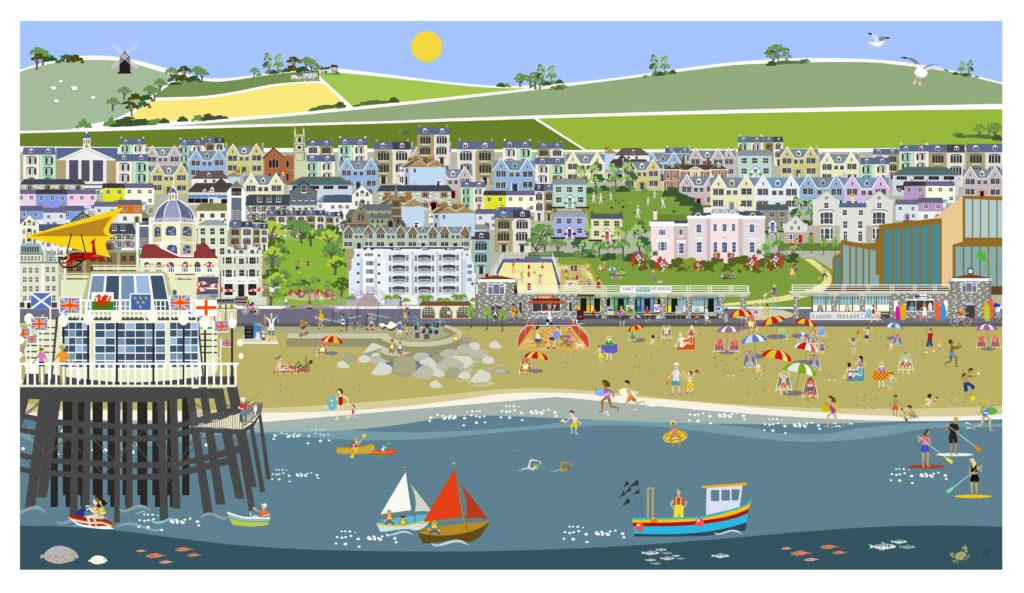 Digital illustration of Worthing from beach to countryside by Erica Sturla